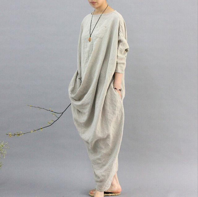 2016 100% Linen Robe women Original design cloth hemp color personality omen dress Long sleeved Casual flax Mori dress N121