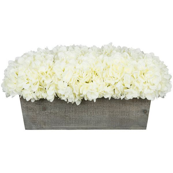 Artificial Hydrangea in Gray-washed Wood Ledge - Transitional - Artificial Flower Arrangements - by House of Silk Flowers, Inc and other apparel, accessories an...