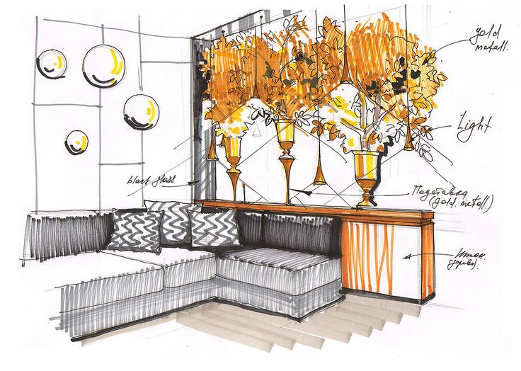 Conceptual Sketch For Zaza Night Club Interior Renovation