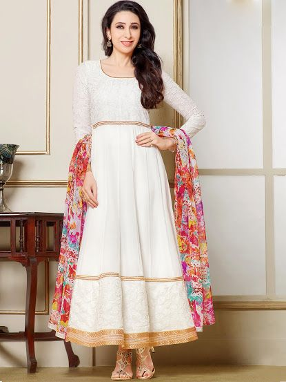 SKU CODE:  SFHAM10456  Heavy Embroidery Cream Faux Georgette Semi stitched Party Wear Anarkali Suit