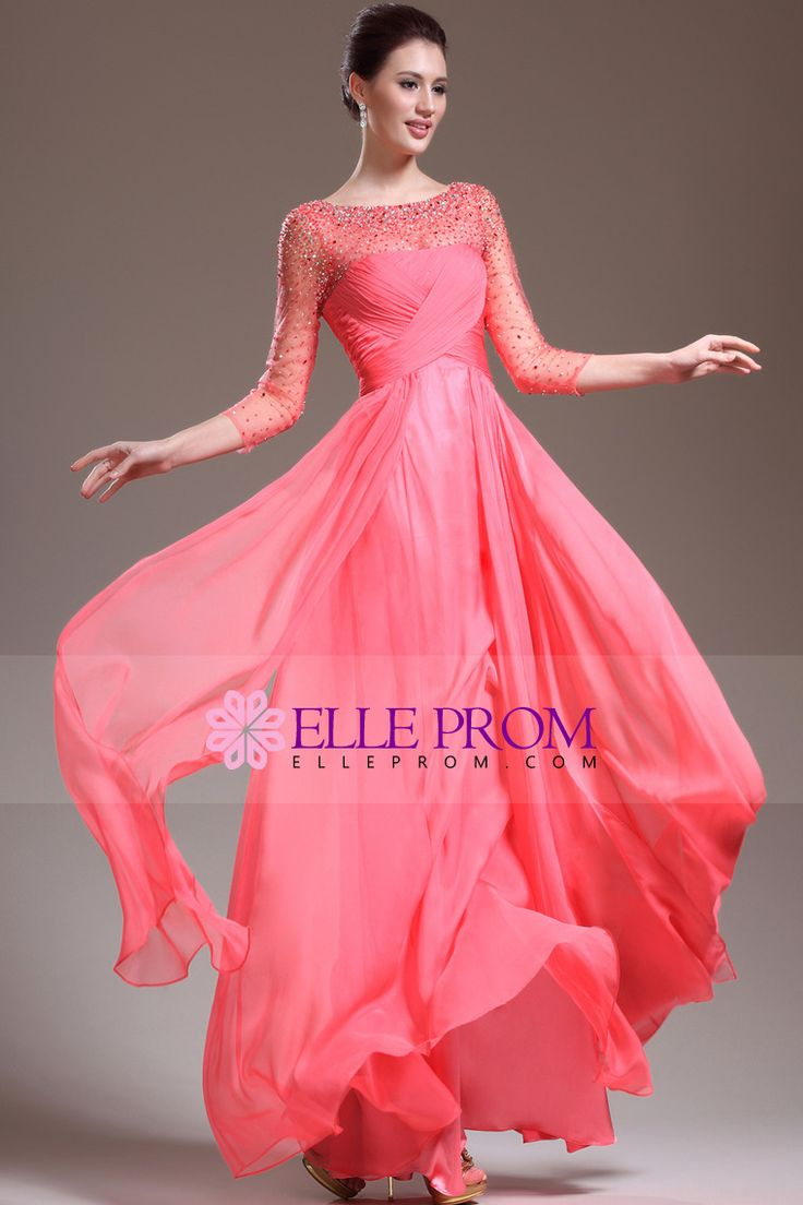 New Arrival 3/4 Length Sleeve A Line Floor Length Prom Dresses Beaded Bodice Shiny