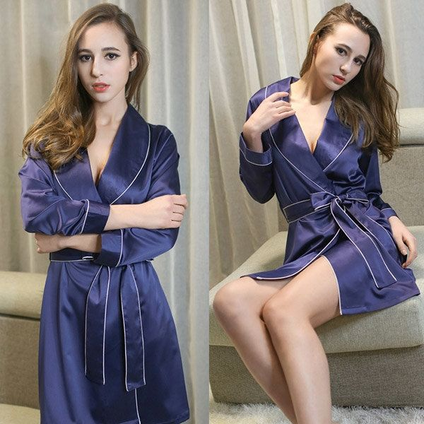 Item Specifics: Item Type:Sleepwear Gender:Women Material:Polyester Feature:V-Neck,Belt Color:Navy Blue,Light Pink,Cream Style:Sexy  Package Contents: 1*Sleepwear