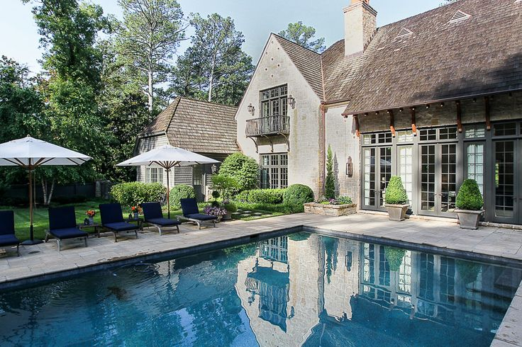 Pool Chaise Lounge Pool Transitional with Chimney Dark Blue Chair Cushions French Doors Garden Outdoor Chaise Lounges Patio