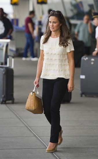 Pippa Middleton with her Kate Spade New York Delevan Terrace wicker bag