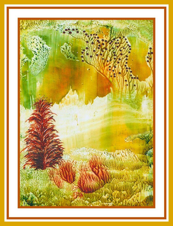 Zonnig landschap geschilderd met bijenwas door Beika kruid