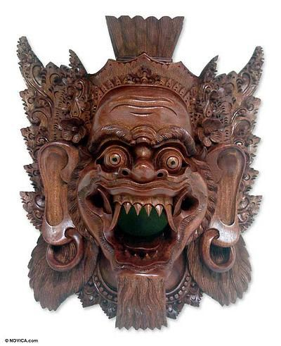 Wood mask, 'Judge in Hell' by NOVICA