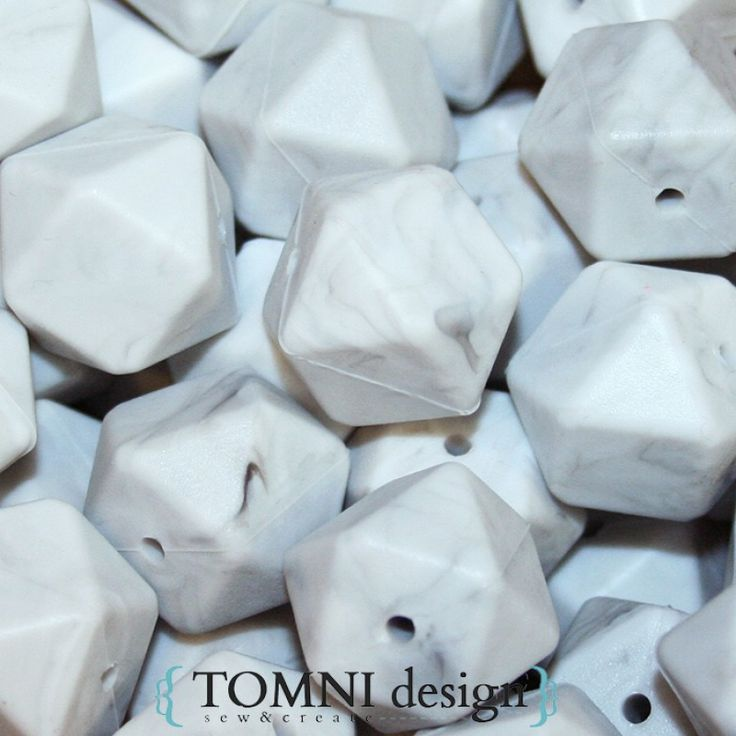 Hexagon Grey Marble Silicone Beads for DIY silicone necklaces, jewellery and teether toys