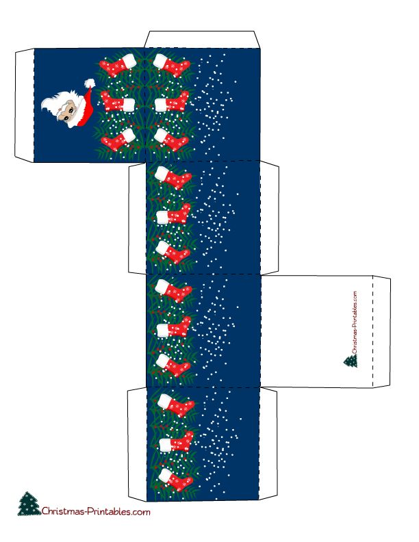 FREE cute printable gift box featuring santa and stockings