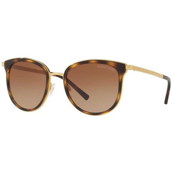 Michael Kors Adrianna I Tortoise Round Sunglasses - mk1010 ($139) ❤ liked on Polyvore featuring accessories, eyewear, sunglasses, tortoiseshell glasses, round frame sunglasses, tortoise glasses, michael kors glasses and tortoise sunglasses