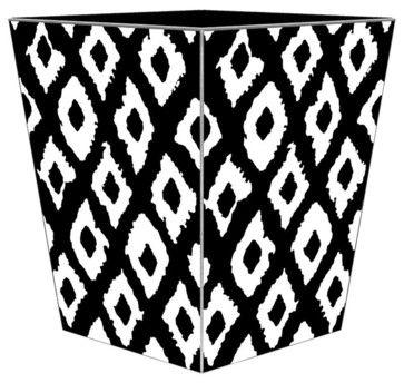 Marye Kelley Black and White Ikat Decoupage Wastebasket with Optional Tissue Box traditional-waste-baskets