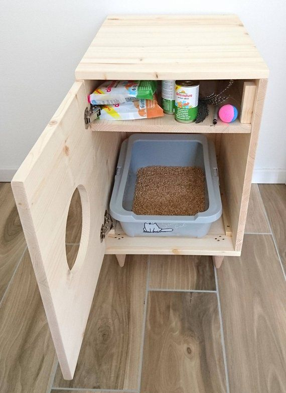 Cat Litter Box Cover, Pet Furniture, Cat House, Modern Litter Box Cabinet made of spruce wood