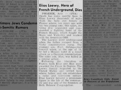 "ELIAS LOEWY - ""HERO OF FRENCH UNDERGROUND"" FRENCH MAQUIS - WISCONSIN NEWSPAPER? JULY 2, 1954"