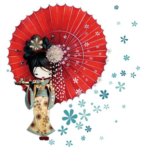 ketto geisha appliqu mural illustrations