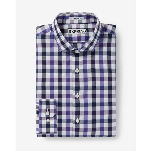 Express Slim Fit Small Check Dress Shirt ($70) ❤ liked on Polyvore featuring men's fashion, men's clothing, men's shirts, men's dress shirts, purple, mens slim fit shirts, mens slim fit dress shirts, mens purple dress shirt, mens tailored dress shirts and mens checkered shirts
