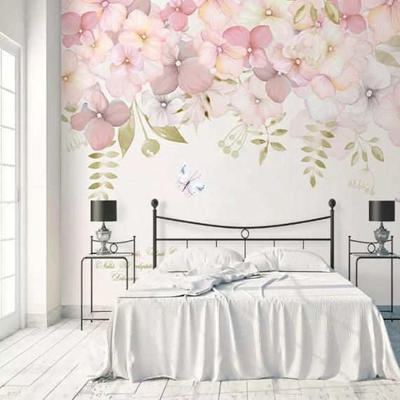 Watercolor Pink Flowers Wallpaper Wall Mural Hanging Branch Etsy Floral Wallpaper Bedroom Pink Flowers Wallpaper Wall Wallpaper