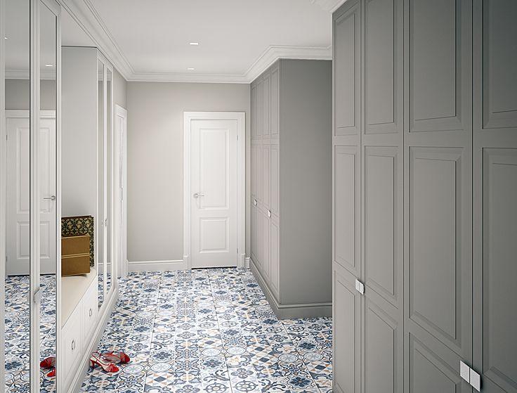 """Интерьер холла. На полу плитка в стиле """"пэчворк"""". architectural studio INSCALE #hall #halldesign #design #interior #homedecor #interiordesign #inscale #inscalestudio #home #guilt #patchwork / интерьер в ар-деко / дизайн квартиры / дизайн квартир петербург /"""