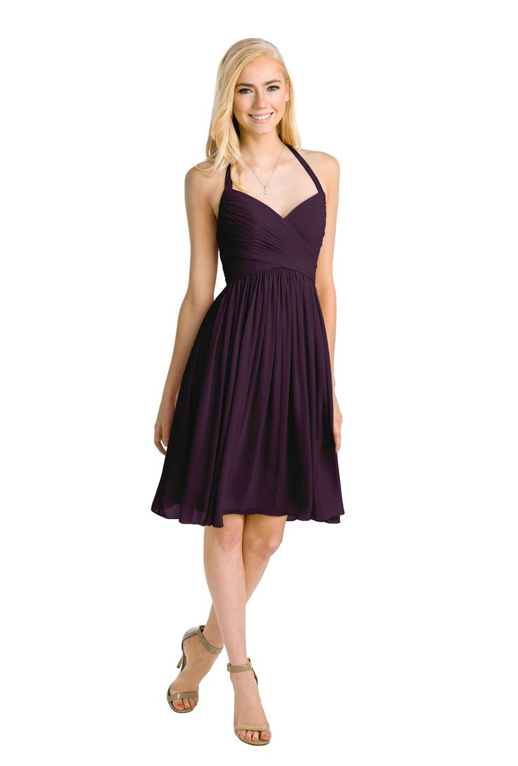 The Mulberry by Watters is a knee-length halter bridesmaid dress. Gorgeous chiffon dress for wedding party. Available in blush / pink, ivory, gray, neutral, navy, and purple. | Rent on vowtobechic.com