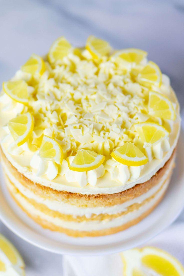 Lemon cream cake with lemon curd