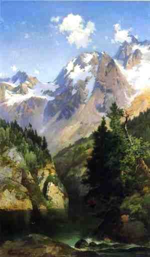 A Rocky Mountain Peak Idaho Territory  Thomas Moran