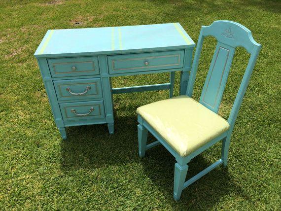 Bureau turquoise & de chaise - peinture personnalisée disponible