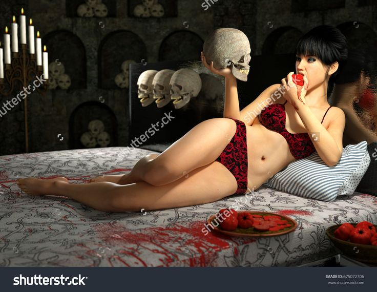 Young beautiful girl lying in luxury bed with a scull in her hand against an interior with many sculls. 3d render