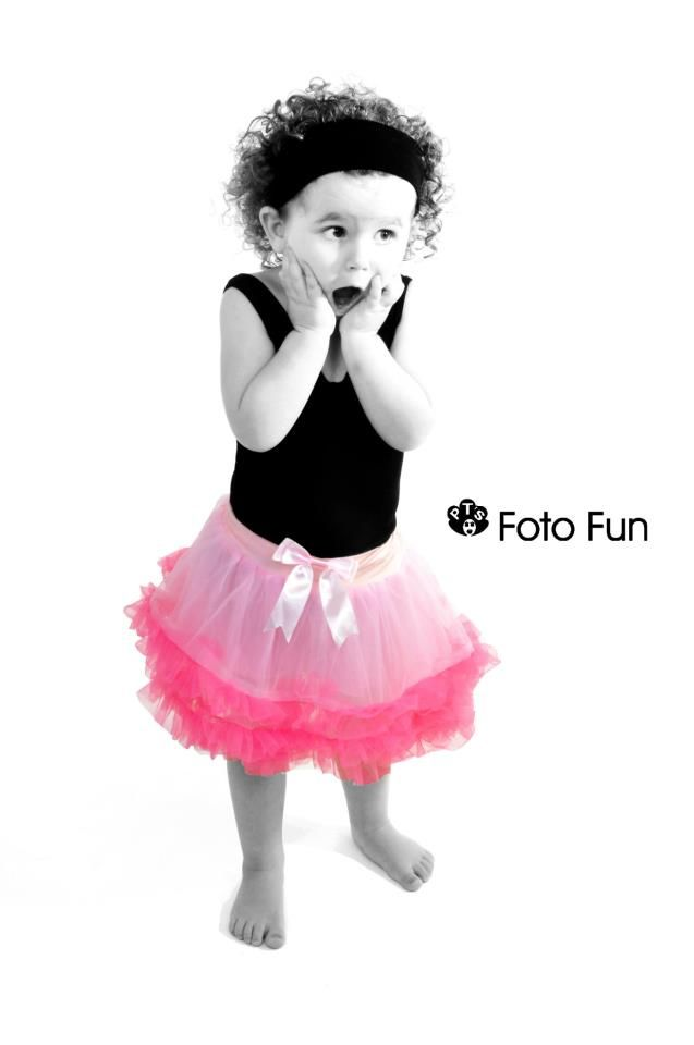 Little ballerina girl in Black & Wite with pink tutu