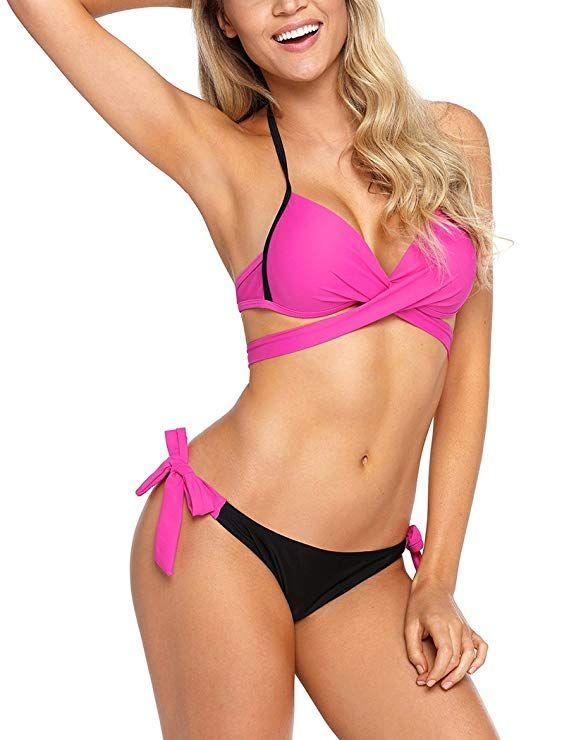 db64bd5b00 Amazon.com  YIHUAN Women s Wrap Front Halter Bikini Tie Side Bottom Swimsuit   Clothing