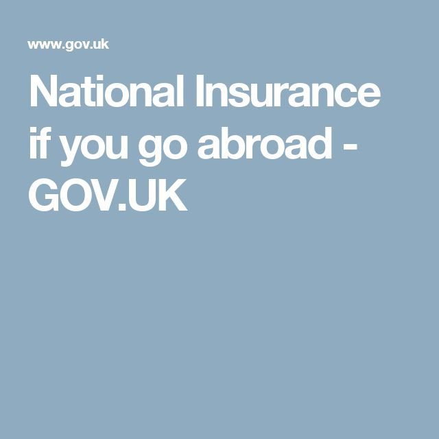 National Insurance if you go abroad - GOV.UK