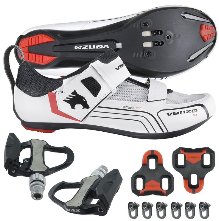 Venzo Cycling Bicycle Bike Triathlon Shoes with Pedals For Shimano SPD SL Look White 42
