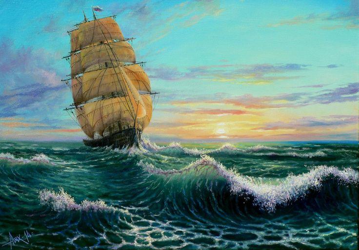Живопись Корабли Парусные Волны Море Andrew Lyakh, Fresh breeze