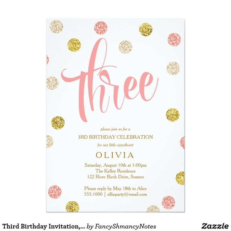 32 best birthday invitations images on pinterest birthday third birthday invitation pink and gold stopboris Image collections