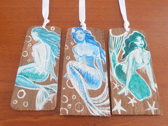 Aqua Blue and Teal Hand Painted Mermaid ornaments/mermaid