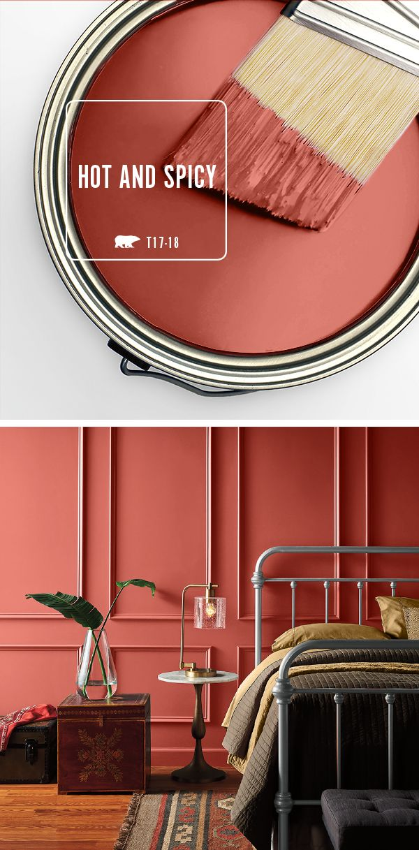 The deep red of Hot and Spicy is the perfect shade to bring color and warmth into your home. This intense hue really shines when paired with natural wood accents and rich browns. Check out BEHR's collection of 2017 Color Currents to find the perfect shade for your home.