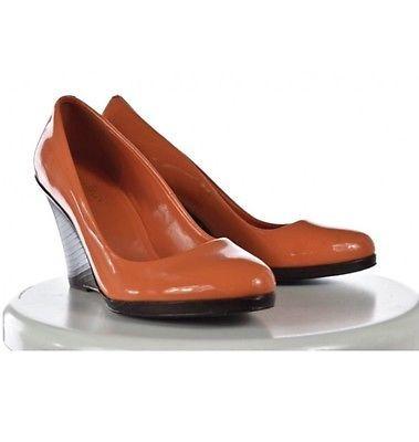 Cole Haan Womens Orange Wedge Heels Shoes Leather Platform  | eBay