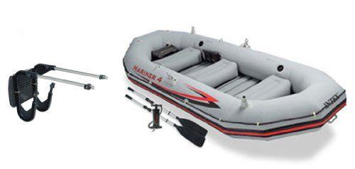 Intex Mariner 4 Inflatable Raft River/Lake Dinghy Boat Set