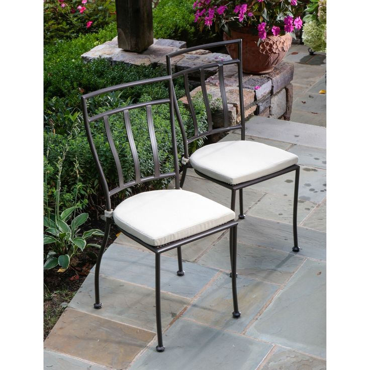 Set of 2 Wrought Iron Outdoor Patio Bistro Chairs with Cushions
