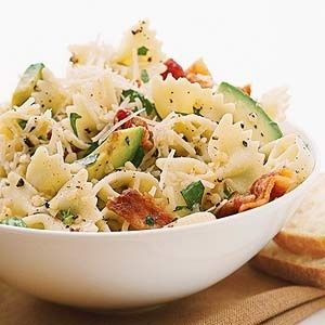 Summer dinner - bacon, avocado, lemon juice, olive oil, parm cheese, bow tie pasta, tomato, green onion and s