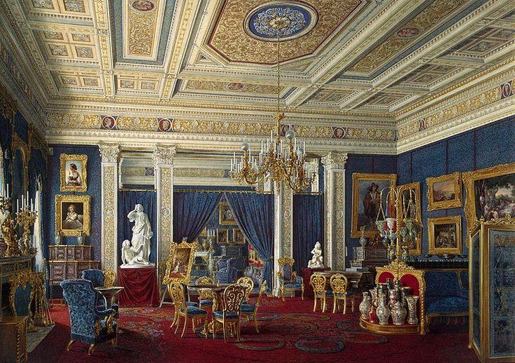 Blue Drawing-Room in the Mariinsky Palace, Edwatd Petrovich Hau, 1866