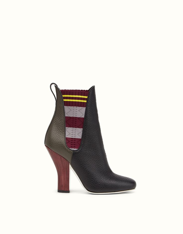 FENDI BOOTS - Black and charcoal leather ankle boots - view 1 zoom