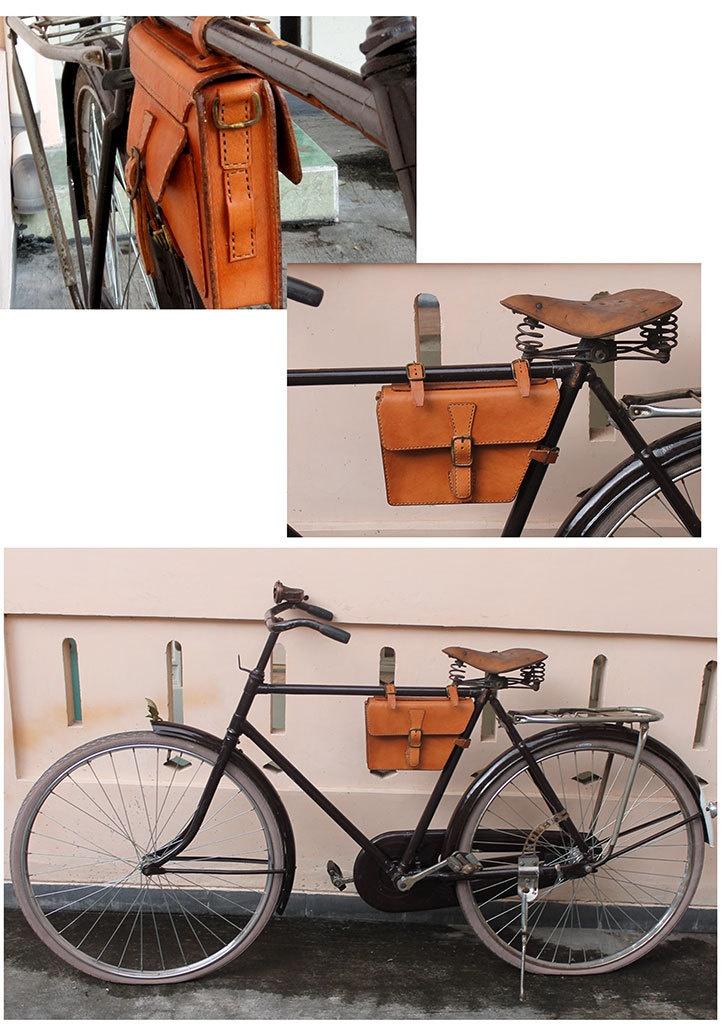 Handmade traditional veg tanned leather bicycle frame bag/ messenger bag honey color. $55.00, via Etsy.