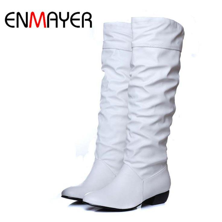 Enmayer plus size 43 fashion nuovo arrivo inverno a metà polpaccio donne stivali Nero Bianco Marrone appartamenti tacchi metà stivali Da Neve autunno scarpe