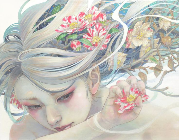 移ろうままに F6 Canvas Delicate Japanese Oil Paintings of Ethereal Woman Submerged with Nature by Miho Hirano