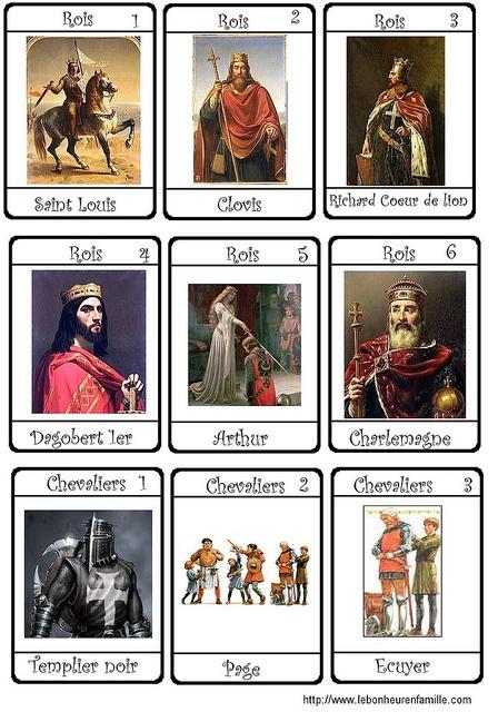 cartes chevaliers