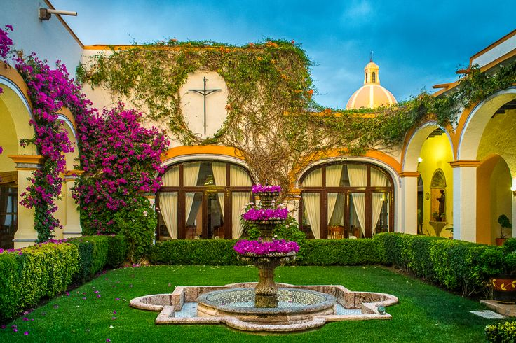 My own photo. Hotel Front Yard; formerly a small town house. in Tequisquiapan, Mexico