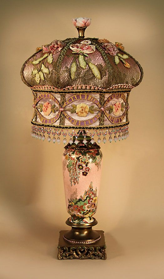 ~ Hand Painted Table Lamp With Metallic Embroidery, Silk Ribbon Work Applique & Glass Bead Fringe  ~