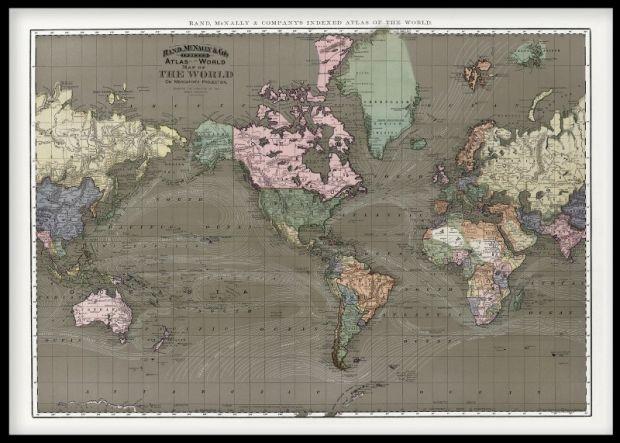 Världskarta tavla, tavlor med världskarta, gammal, 1800-tal