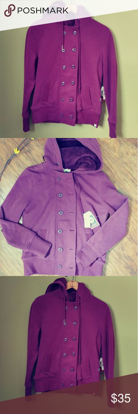 💠💠NWT ROXY JACKET💠💠💠 Double breasted, with zipper, purple fur lined and hooded,  measures 19 p-p and 23 long . Feel free to ask any questions BUNDLE for better discount Roxy Jackets & Coats