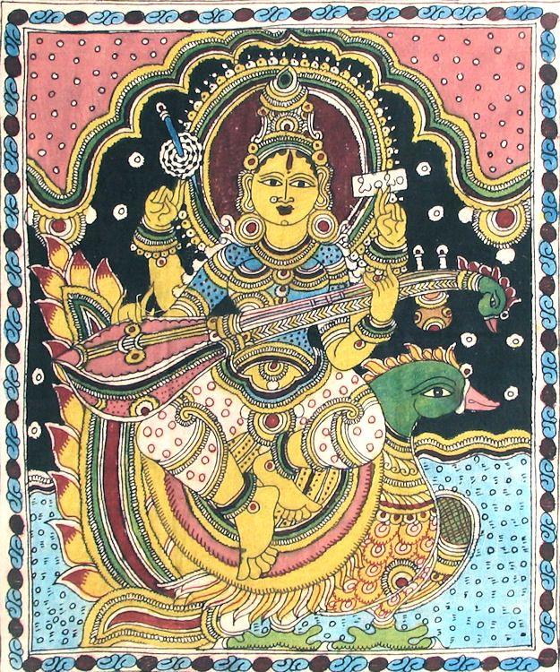 Saraswati (Kalamkari Paintings on Cotton - Unframed))