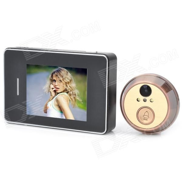 "202C 2.8"" Touch Screen 2.0 MP CMOS Digital Peephole Video Doorbell w/ 2-LED Night Vision - Black"