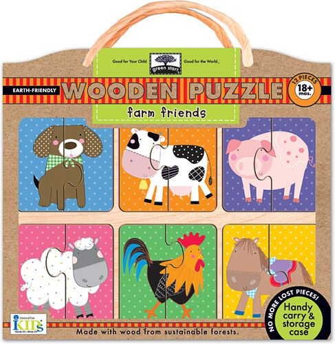 Delightful first Wooden Puzzle - Farm friends from Green Start. Brought to you by ecobella.com.au